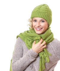 Portrait of a beauty woman wearing warm sweater