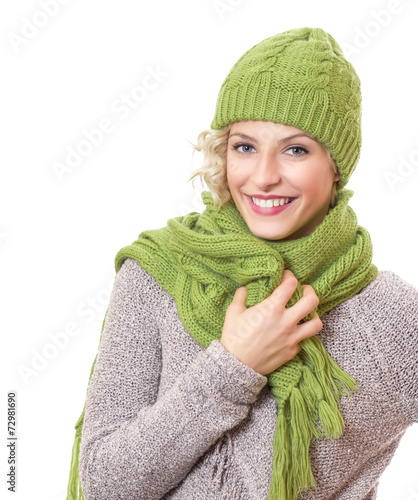 canvas print picture Portrait of a beauty woman wearing warm sweater