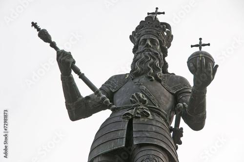 Leinwandbild Motiv Denkmal Kaiser Karl der Große in Aachen