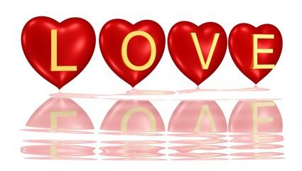 Love - vier Herzen mit goldener Schrift