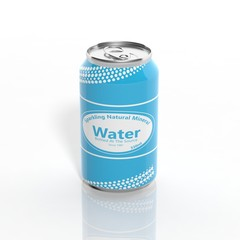 3D Sparkling Water can isolated on white