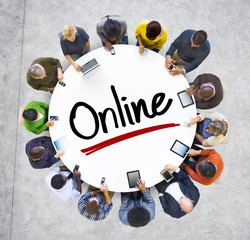 Multiethnic Group of People with Online Concepts
