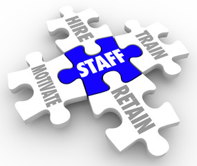 Staff Word Puzzle Pieces Hire Motivate Train Retain Human Resour