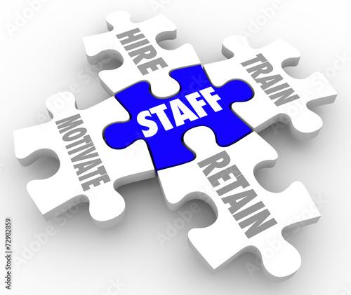 Staff Word Puzzle Pieces Hire Motivate Train Retain Human Resour