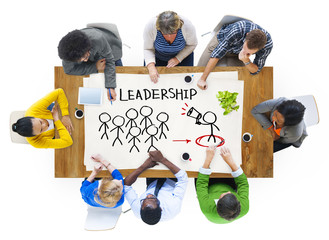 People in a Meeting and Leadership Concepts