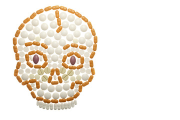 skull composed of colored pills