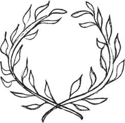 doodle laurel wreath design element