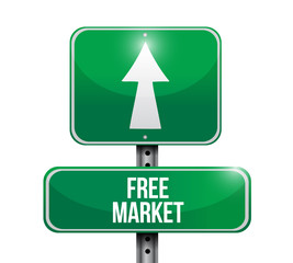 free market street sign illustration