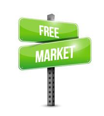 free market street sign illustration
