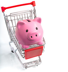 saving concept - piggy bank in cart