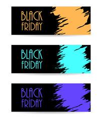 black paper banner with black friday design, vector illustration