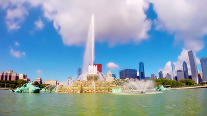 Buckingham Fountain in Grant Park timelapse, Chicago, IL, US
