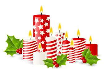 Christmas candles with holly berries