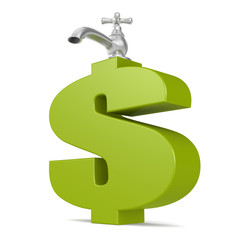 Water tap with green dollar sign