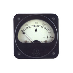 Old unplugged voltmeter isolated on white