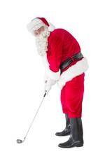 Happy santa claus playing golf