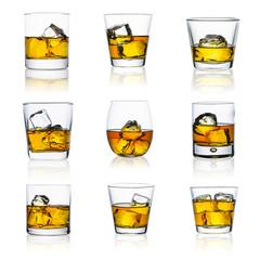 whiskey glasses isolated set