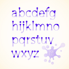 Vector ink lowercase alphabet