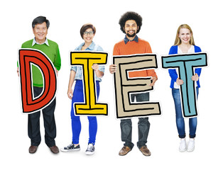 Group of People Standing Holding Diet Letter