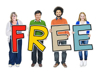 Multiethnic Group of People Holding Free