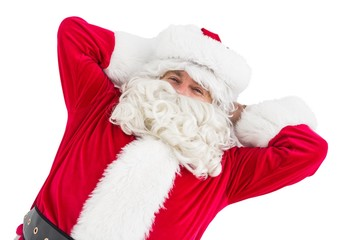 Happy santa lying and relaxing