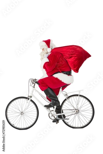 Plexiglas Wielersport Santa claus delivering gifts with bicycle