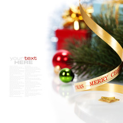 Christmas ribbon bow with decorations