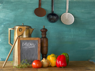 menu w. food ingredients and kitchen utensils, free copy space