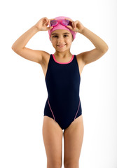 Pretty Young Girl in Swimming Fashion Outfit