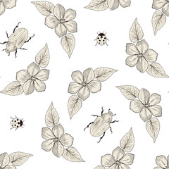 flowers and bugs seamless pattern