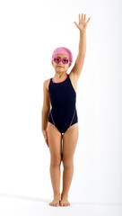 Little girl in her swimming costume