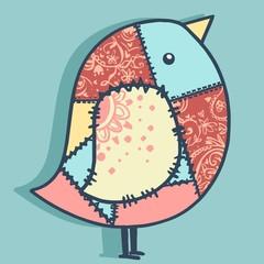 postcard with beautiful birds patchwork