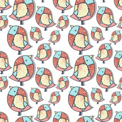 pattern with beautiful birds patchwork