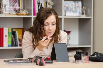 Girl gets concealer during makeup