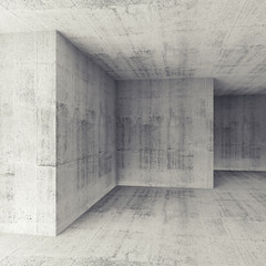 Abstract architectural 3d concrete empty room interior