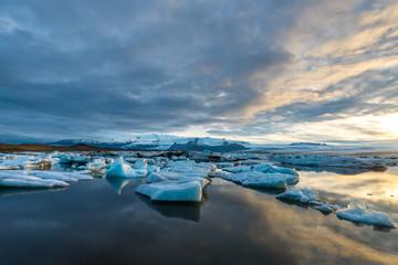 Scenic view of famous Glacier Lagoon Jokulsarlon, Iceland.