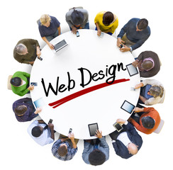 Group of People Holding Hands Around Letter Web Design