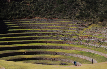 Ancient Inca circular terraces at Moray