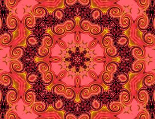 Pink and golden mandala