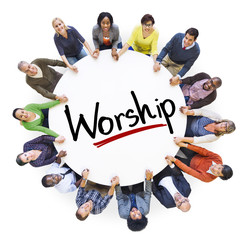 Diverse People Holding Hands Worship Concept