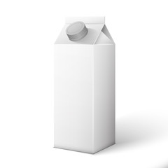 Milk, Juice, Beverages, Carton Package Blank White