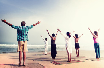 Yoga Wellbeing Exercise Beach Concept