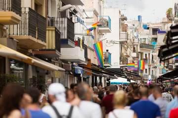 Street with rainbow flags in Sitges