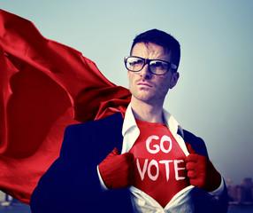 Superhero Businessman Vote Power Concept