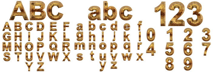 Yellow gold or golden fonts isoalted