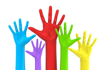 Colorful five hands