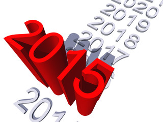 Conceptual 3D red 2015 year isoalted