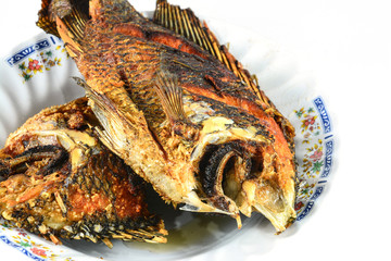 Deep Fried Tilapia fish fried on dish isolate on white backgroun