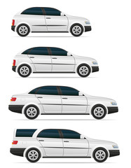 set icons passenger cars with different bodies vector illustrati