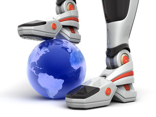 Robot put his leg over the globe